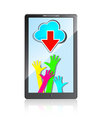 Mobile phone with colorful hands, cloud  and arrow Royalty Free Stock Photos