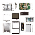 Mobile phone components on white background Royalty Free Stock Images
