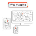 Mobile Phone, computer (PC) and tablet with Internet map. Title web mapping inside the red box.