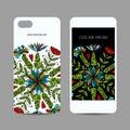 Mobile phone cover design. Floral mandala ornament Royalty Free Stock Photo