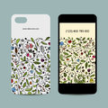 Mobile phone cover design. Floral ornament Royalty Free Stock Photo