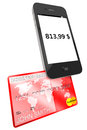 Mobile phone with Credit Card Stock Images