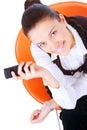 Mobile-phone da terra arrendada da mulher de negócios Fotos de Stock