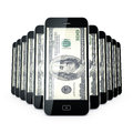 Mobile phone dollas. Stock Photo
