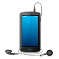 Mobile Phone with Earphone Royalty Free Stock Photo