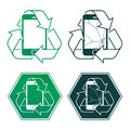 Mobile phone encircled by a recycling icon in four different designs two with cracked screens vector design element illustration Royalty Free Stock Images