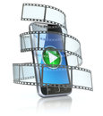 Mobile phone and film Royalty Free Stock Images