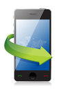 Mobile phone with on the go arrow concept Royalty Free Stock Images