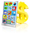 Mobile phone and gold dollar sign Royalty Free Stock Photos