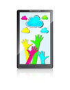 Mobile phone with hands and colorful clouds Royalty Free Stock Photography