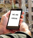 Mobile phone, We are hiring caption