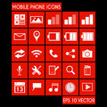 Mobile phone icon set with flat metro style Royalty Free Stock Image