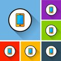Mobile phone icons with long shadow Royalty Free Stock Photo