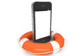 Mobile Phone with lifebuoy Royalty Free Stock Photo
