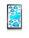 Mobile phone with Like symbol and blue clouds Royalty Free Stock Photo