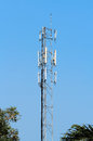 Mobile phone mast antenna with blue sky Royalty Free Stock Photography