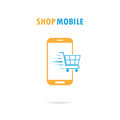 Mobile phone with online shopping application.Internet shopping Royalty Free Stock Photo