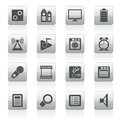Mobile phone  performance, internet and office icons Royalty Free Stock Photo