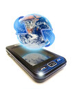 Mobile phone planet earth and digital circle arrow below the with on white background Royalty Free Stock Image