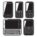 Mobile phone set. Touchscreen and slider. Royalty Free Stock Photo