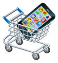 Mobile phone shopping cart a concept for for apps or a new Stock Photos