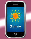Mobile Phone Shows Sunny Weather Forecast Royalty Free Stock Photo