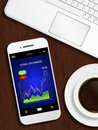 Mobile phone with stock chart, mug of coffee and laptop keyboard Royalty Free Stock Photo