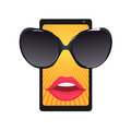 Mobile phone with sun glasses and female lips