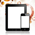 Mobile phone and tablet pc with blank screen on abstract illustration background Royalty Free Stock Image
