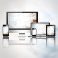 Mobile phone tablet pc laptop and computer over abstract background Royalty Free Stock Photos