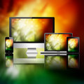 Mobile phone tablet pc laptop and computer over abstract background Royalty Free Stock Image