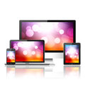 Mobile phone tablet pc laptop and computer over white background Stock Images