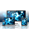 Mobile phone tablet pc laptop and computer over white background Royalty Free Stock Photos