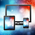 Mobile phone tablet pc and tv over abstract background Royalty Free Stock Images