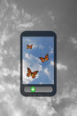 Mobile phone touch screen with butterfly Royalty Free Stock Image