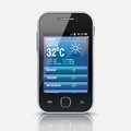 Mobile phone with weather widget app eps illustration Stock Photo