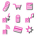 Mobile phone web icons, pink contour series Stock Photos