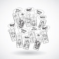 Mobile phones group happy communication people black lines. Royalty Free Stock Photo