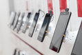 Mobile phones in showroom Royalty Free Stock Photo