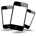 Mobile phones on white background Royalty Free Stock Images