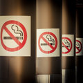 Mobile photography toned row of No Smoking signs Royalty Free Stock Photos