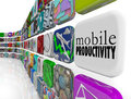 Mobile productivity apps software working remotely on the go words an app tile surrounded by programs and designed to help you Royalty Free Stock Photo