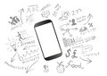 Mobile productivity modern device with communication doodles Stock Photos