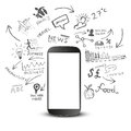 Mobile productivity modern device with communication doodles Royalty Free Stock Photography