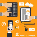 Mobile programs concept, flat design illustration,human hand with mobile phone, tablet