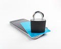Mobile security smartphone concept locker over smartphone Stock Photos