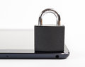 Mobile security tablet concept locker over tablet Stock Photography