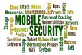 Mobile security word cloud on white background Royalty Free Stock Images