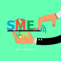 Mobile shopping concept. mobile marketing and commerce background. hand holding mobile phone Royalty Free Stock Photo