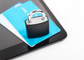 Mobile shopping tablet security concept locker and credit card over tablet Stock Photography
